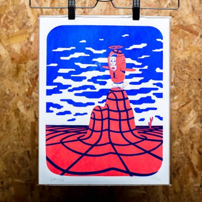 blue and red screenprint of flight