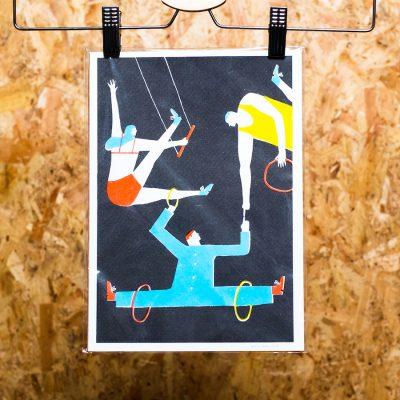 riso print of acrobats