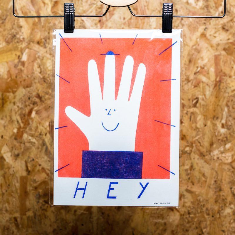 riso print of hand illustration