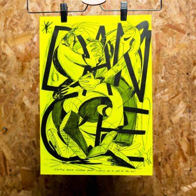 yellow print illustration of dance