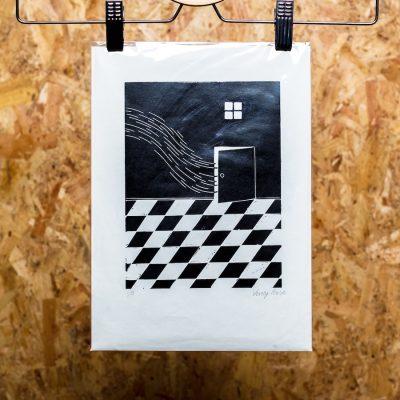 linocut print of door